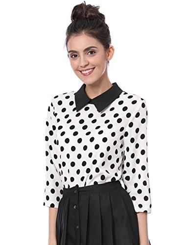 Allegra K Damen Langarm Panel Bubikragen Polka Dots Top Bluse, M (EU 40)/Weiß