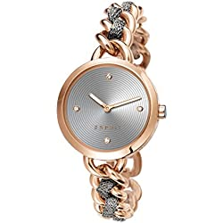 Esprit Lily Women's Quartz Watch with Grey Dial Analogue Display and Rose Gold Stainless Steel Bracelet ES107952003