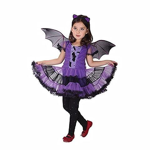 Tiaobug Mädchen Fledermaus Bat Wings Kinderkostüm komplettes Kostüm für Halloween Fasching Karneval Lila