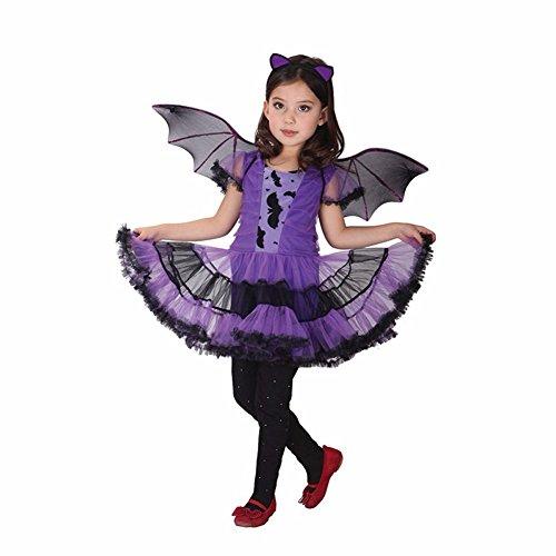 iEFiEL Kinder Fledermaus Kostüm für Mädchen Fledermaus Halloween Kostüm Kleid mit Flügeln, Haarreifen Cosplay Verkleidung Lila 110-116