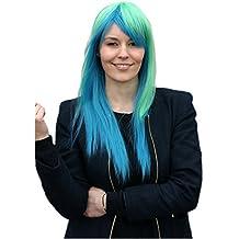 Prettyland Peluca - 65 cm de largo peluca azul y verde de Cosplay Hatsune Miku de la manera suave C633