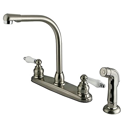 Kingston Brass KB717SP Victorian High Arch Kitchen Faucet with Sprayer,