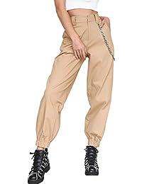 d145072cc123 Lisli Pantalon Femme Taille Haute Hip-Hop Pantalon Évasé avec Poches Chaîne  70cm Boutonné Couleur