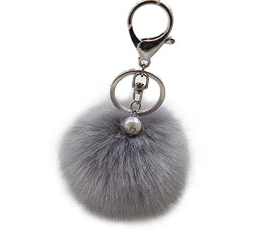 Pelz Kugel Schlüsselanhänger Plüsch Auto Schlüsselring Auto Schlüssel Anhänger (Grau) (Plüsch-kaninchen)