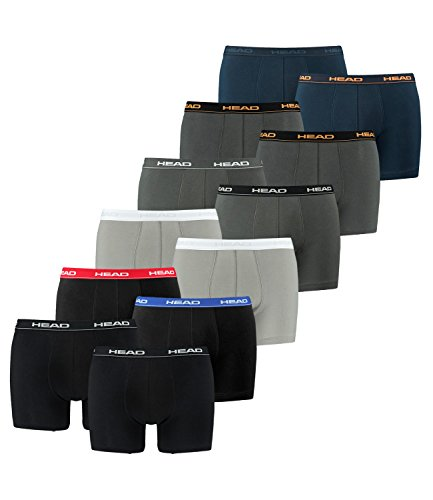 Head uomo boxer mutande molti colori (pacco da 12) 1x2er Red/Blue/Black / 1x2er Grey / 1x2er White/Black/Grey / 1x2er dark shadow / 1x2er Peacoat/Orange/Navy