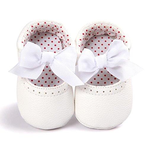 FEITONG Baby Bowknot Leder Schuhe Sneaker Anti-Rutsch Soft Sole Kleinkind (13, Weiß)