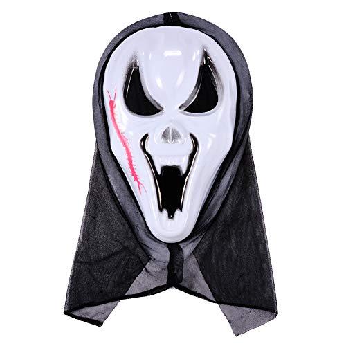 Sakyo halloween maschera cranica spaventoso maschera scream, maschera spaventosa con macchie di sangue, per festival, cosplay, halloween, costume, maschera cranica skeleton full face, taglia unica