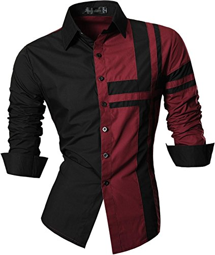 Jeansian uomo camicie maniche lunghe moda men shirts slim fit casual long sleves fashion z014 winered l