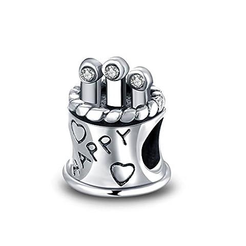 HMILYDYK 925 Sterling Silber Jan-Dec Birthstone CZ Kristall Alles Gute zum Geburtstag Charms Perle passend Pandora Charms Armband