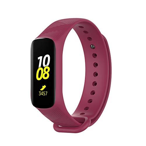 WAOTIER für Huawei R375 Armband Silikon Armband mit Schnellverschluss Streifen Muster Ersatzarmband Kompatibel für Huawei Fit E R375 Atmungsaktiver Wasserdichter Armband für Männer Frauen (Hot pink)