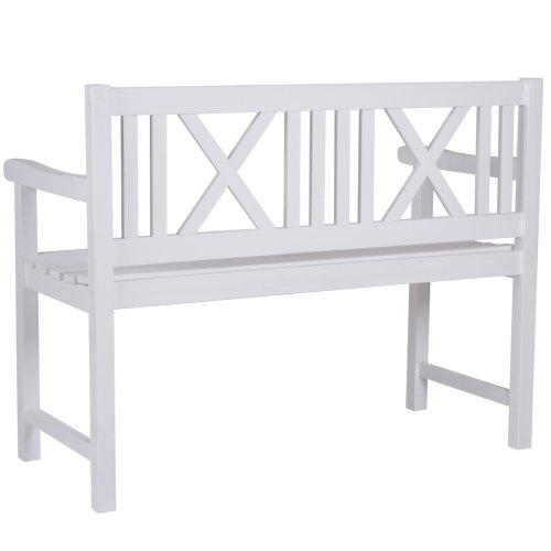 Miadomodo–Gartenbank weiß aus Fichtenholz - 3