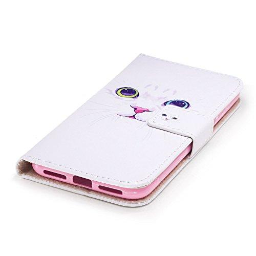 Cover Per iPhone X, Sunrive Custodia con supporto di stand e in Pelle artificiale per carte di credito Portafoglio Flip Chiusura Magnetica Protettiva(sabbia Blu) Gatto Bianco