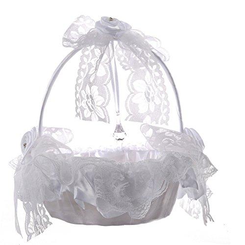 Hochzeit Korb, bluesees Große Blume Mädchen Korb mit Spitzenband Innenfutter für Hochzeit Party (Bogen-brosche Und Pfeil)