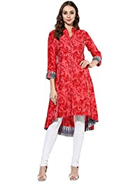 Mytri Women's Pink Rayon Printed High-Low Kurta