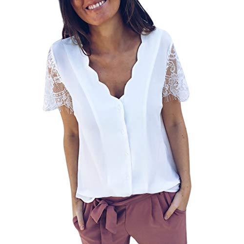 Damen tiefes V-Shirt, lässige Spitze Tops Mode Tank Top Kurzarm Tunika Knopf einfarbig V-Ausschnitt Bluse tägliche Party T-Shirt (Weiß,L)
