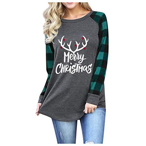 BOLANQ Damen Weihnachtslange Hülsen Unterseiten Hemd Elch Druck Plaid Pullover T-Shirt Spitze beiläufige Lange Hülse(Large,F-Grün)
