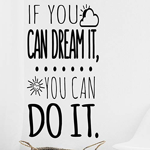 Vinilo de pared decorativo, pegatina de pared con frase en Inglés'If you can dream it',wall quote art sticker decal for home, Wall Stickers, Art Sticker Decal Mural, Wall Decal Sticker DC-18200-M