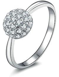 Aooaz Gioielli anello fascia anello fidanzamento anello argento sterling perlina Argento anelli donna anello zirconi