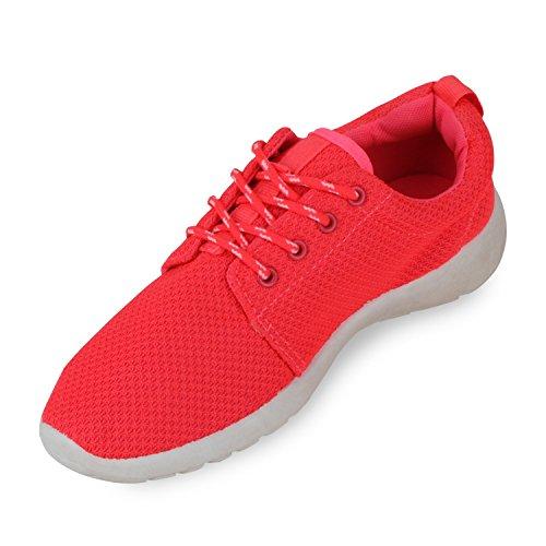 Damen Herren Sneaker Sportschuhe schwarz Turnschuhe Runners mit Blumen Print in mehreren Farben Neonpink Weiss