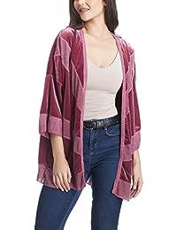 Laura Moretti - Chaqueta de terciopelo estilo KIMONO con encajes y bordados