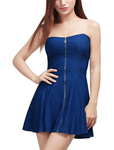 Allegra K Damen Sommer A Linie Reißverschluss Off Shoulder Minikleid Kleid, M (EU 40)/Blau