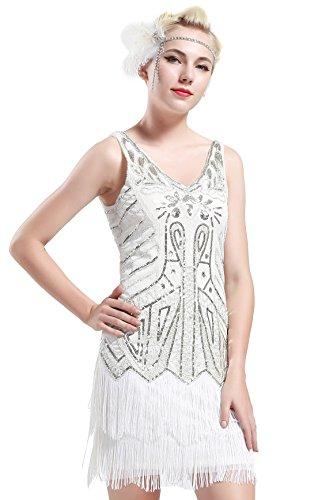 (BABEYOND Damen Retro 1920er Stil Flapper Kleider mit Zwei Schichten Troddel V Ausschnitt Great Gatsby Motto Party Kostüm Kleider- Gr. S (Fits 74-84 cm Waist & 92-102 cm Hips), Weiß)
