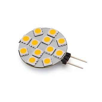 10 g4 lampadine faretti 12 led smd bianco caldo 12v dc for Lampadine a led g4