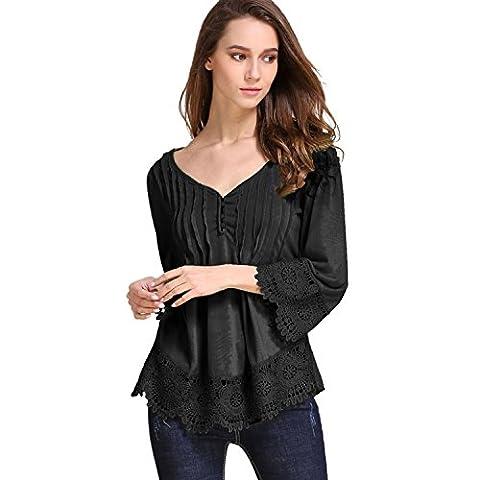 Kinikiss - T-shirt - Tunique - Uni - Femme - noir - XX-Large