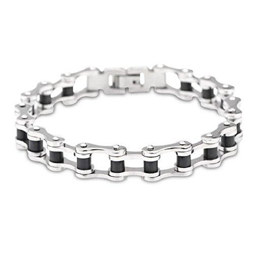 JOLIN Titanium Edelstahl Herren Armband Fahrrad-Ketten-Silber-Schwarz-Ton