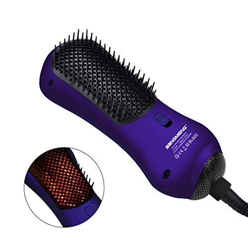 BANGMENG Mini One Step Fön & Styler Heißluft Paddelbürste mit Infrarot | Negativ-Ionen-Generator Haarglätter für alle Haartypen | Beseitigt Frizzing, Tangled Hair & Knots