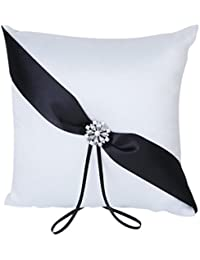 TOOGOO(R) Blanco y Negro satinado Diamante floral bolsa boda almohada anillo 20cmx20cm