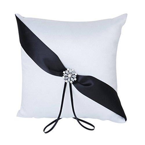 SODIAL(R)20cmx20cm Satin Flower Wedding Ring Pillow Cushion-White & Black