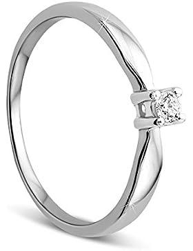 Orovi Damen Verlobungsring Gold Solitärring Diamantring 9 Karat (375) Brillanten 0.10crt Weißgold Ring mit Diamanten