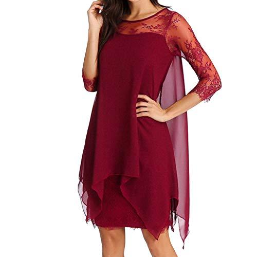 BHYDRY Frauen Chiffon Overlay DREI viertel Sleeve Spitze Dress Oversize s-5xl(Small,Rot)