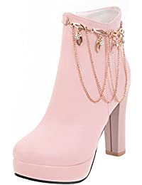 SHOWHOW Damen Metallic Strass Profilsohle Stiefeletten Mit Anhänger Pink 39 EU
