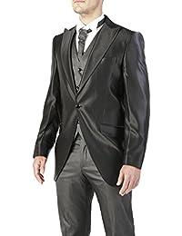 Abito da sposo completo uomo FB CLASS sartoriale modello tight nero vestito  gilet e cravatta 100 008c3a40e0d