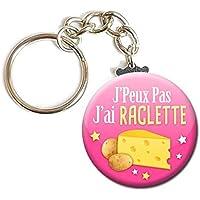 PORTE CLÉS Chaînette 3,8 cm ✩ J'peux pas j'ai RACLETTE ✩ (idée cadeau humour homme femme excuse)