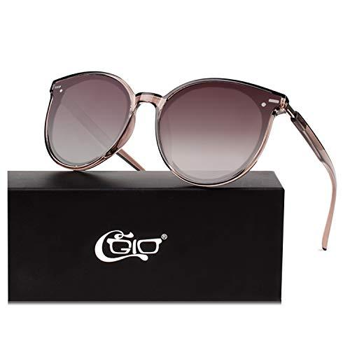 CGID Designer Oversized Runde Polarisierte Sonnenbrille für Frauen Retro Damen Sonnenbrille 100% UV400 Brille Transparente Braune Gestell Braun Farbverlauf Gläser M60