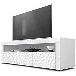 Vladon Meuble TV Bas Valencia, Corps en Blanc Mat/Façades en Blanc Haute Brillance Calypso avec Une Structure 3D fraisée et Bandeaux en Blanc Haute Brillance