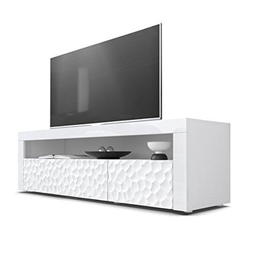 TV Board Lowboard Valencia, Korpus in Weiß/Fronten in Weiß Hochglanz Calypso 3D Struktur und Blenden in Weiß Hochglanz -