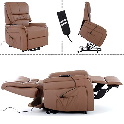 MACO Import Fernsehsessel mit Aufstehhilfe, 2 Motoren, Liege- und Relaxfunktion aus Kunstleder in Hellbraun