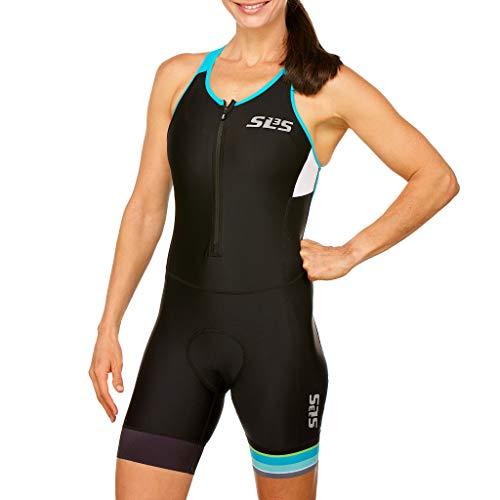 SLS3 Triathlon Einteiler Damen   FRT Trisuit   2 Taschen   Womens Trisuit   Triathlon-Anzug für Damen   Frauen Tri Suit (Black/Martinica Blue, XS)