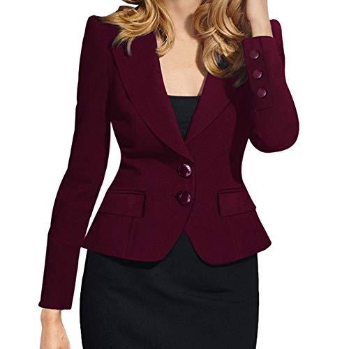 Sunnyuk Damen Blazer kurz Mantel Einreiher Einfarbig Elegant Top Arbeit Anzug kurz Slim-fit jacken Blau Weinrot Schwarz Weiß