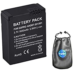 Amsahr BT-GPRAHD201-301-1CT Numérique Remplacement Caméra/Caméscope Batterie pour Gopro Hero Ahdbt-201/301/Gopro Hero 3+/Ahdbt-301 Ahdbt-201 Gris