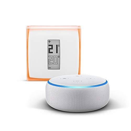 Echo Dot (3.ª generación), tela de color gris claro + Netatmo Termostato...