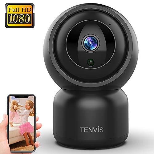 WLAN IP Kamera - Überwachungskamera 1080P Sicherheitskamera TENVIS Innen Haustiere Baby Kinder Überwachung 2 Wege Audio Nachtsicht Bewegungserkennung Einbruch Alarm APP Cloud Speicherung Schwarz