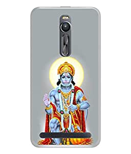PrintVisa Designer Back Case Cover for Asus Zenfone 2 ZE551ML (Religious God Bajrang Wali Hanuman Bhagwan Blue Red Grey)