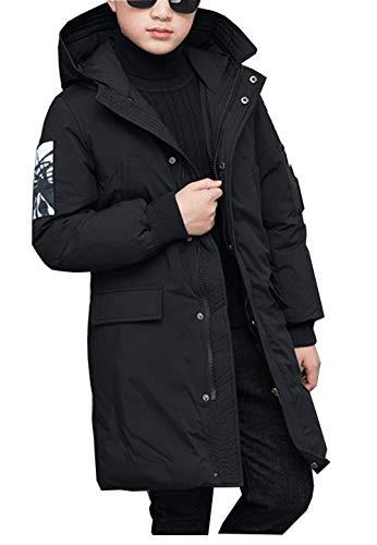 BabyFat Kinder Jungen Wintermantel mit Kapuze Steppjacke Winter Herbst Hooded Oberbekleidung Warm Mantel Schwarz Label 160 (Höhe 156-165cm)
