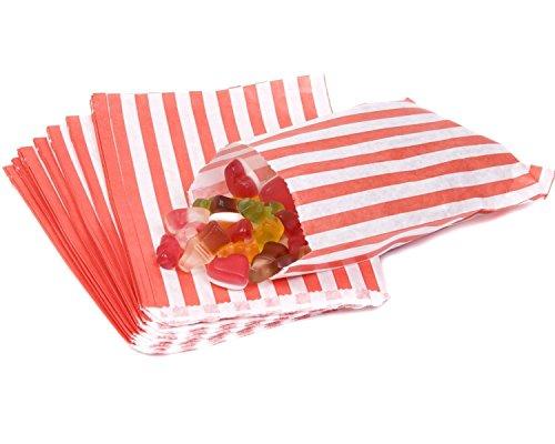 sacchetti di carta a righe porta-confetti Buffet regalo negozio partito caramelle torta nuziale 9colori Designs UK venditore stesso giorno spedizione, Red, 1000 Bags