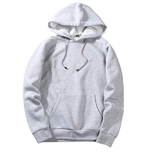 Kostüm Mit Weißen Kontakte - UJUNAOR Herren Langarm Hoodie T-Shirt Kapuzenshirt Mit Kapuze Männer Pullover in Vielen Farben(Grau,M)